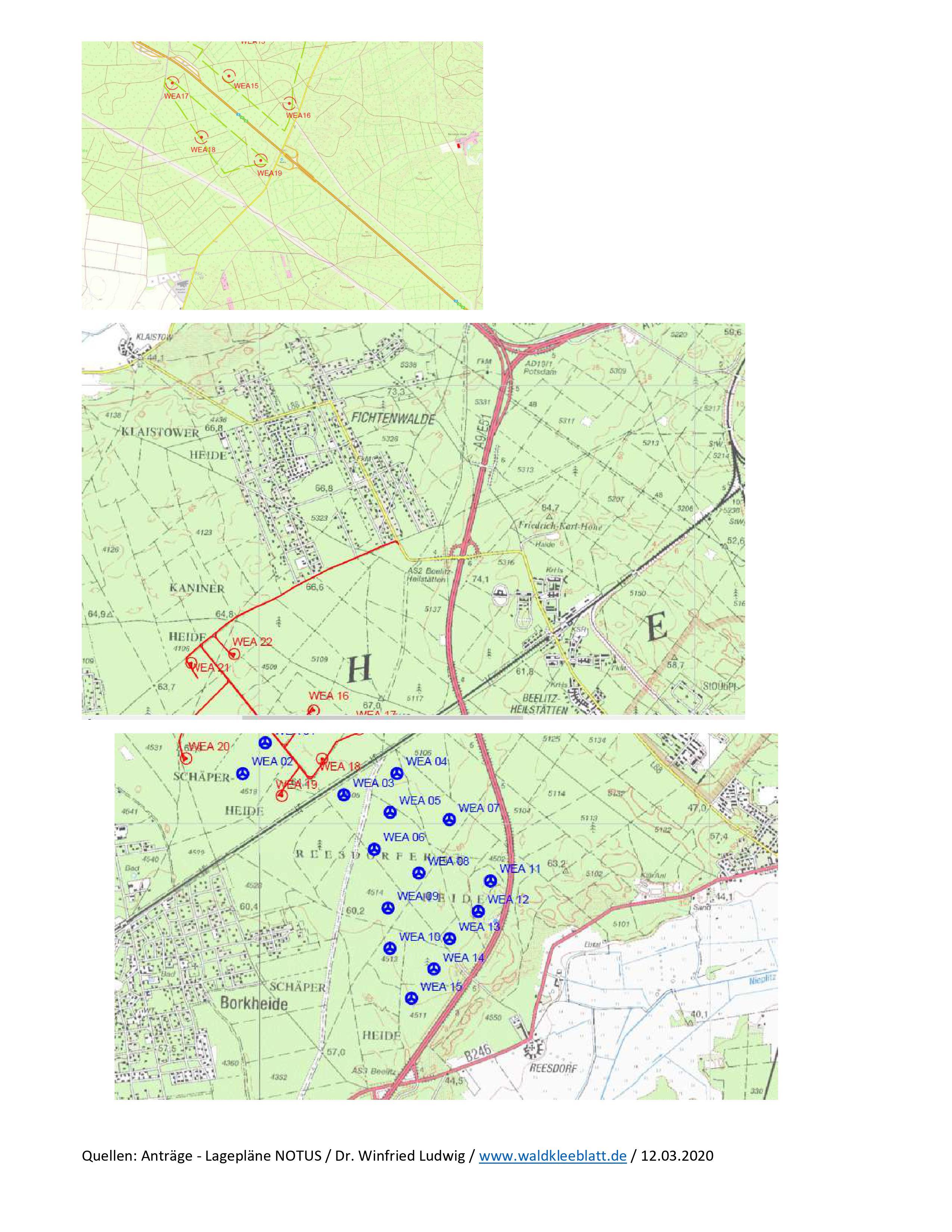 Fichtenwalde bald von Windenergieanlagen (WEA) umstellt? Und wieder mitten im Wald geplant!