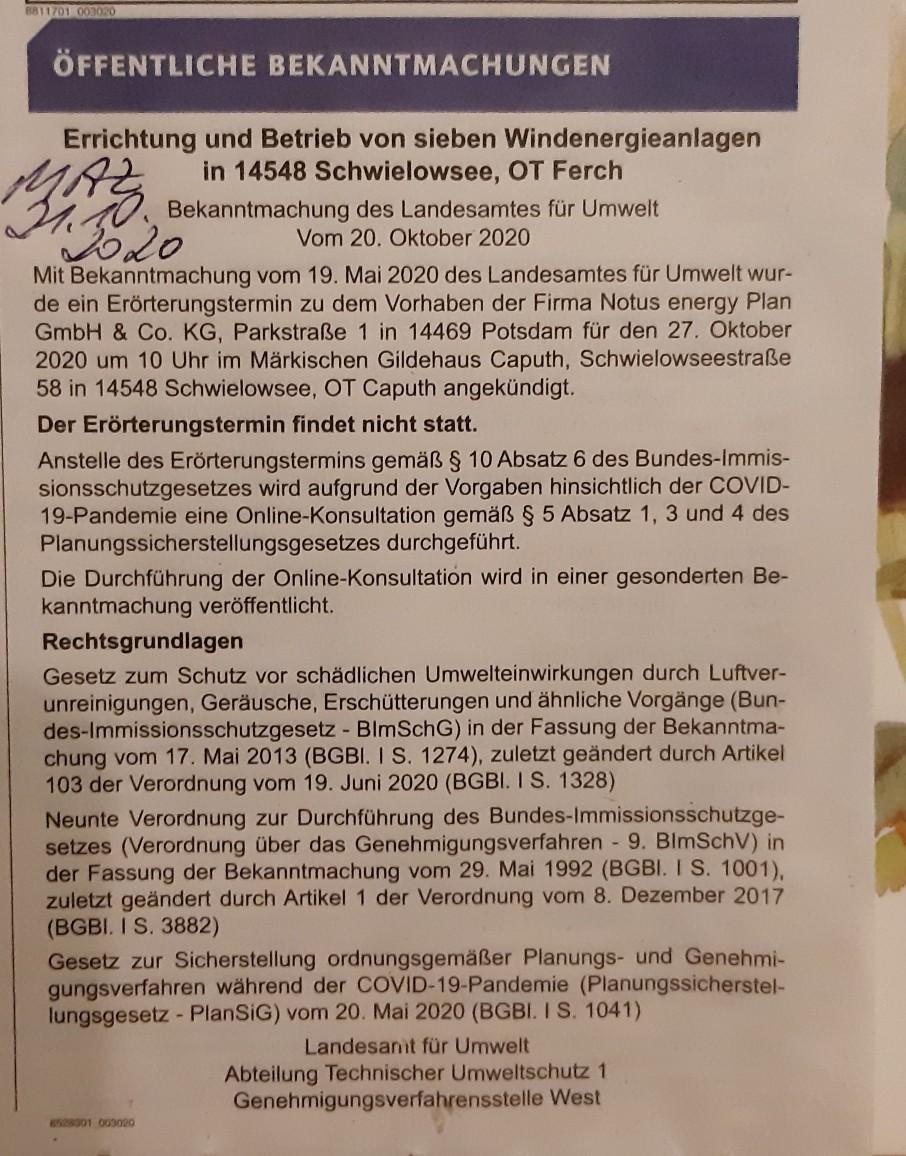 Absage LfU Erörterung Ferch