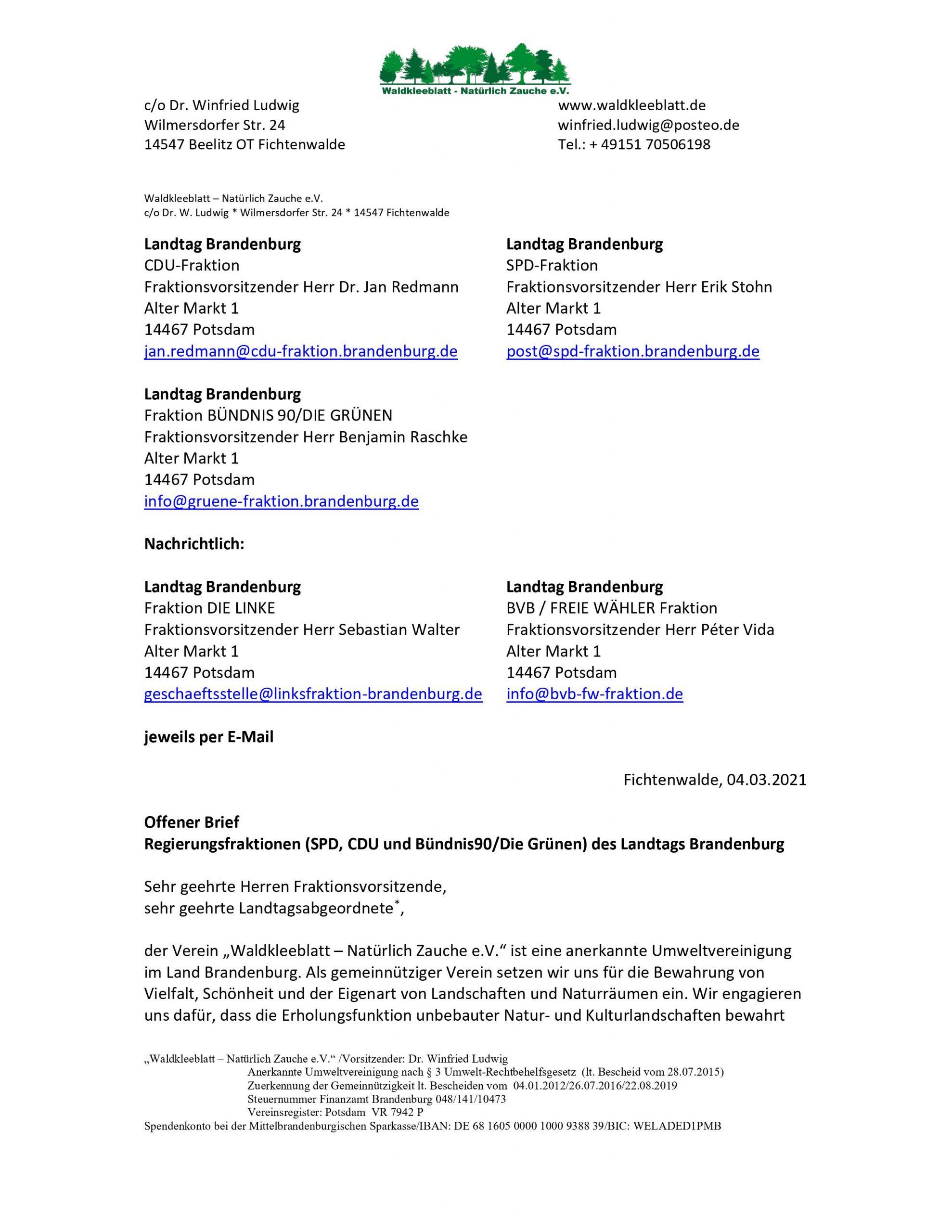 Offener Brief Fraktionen 1